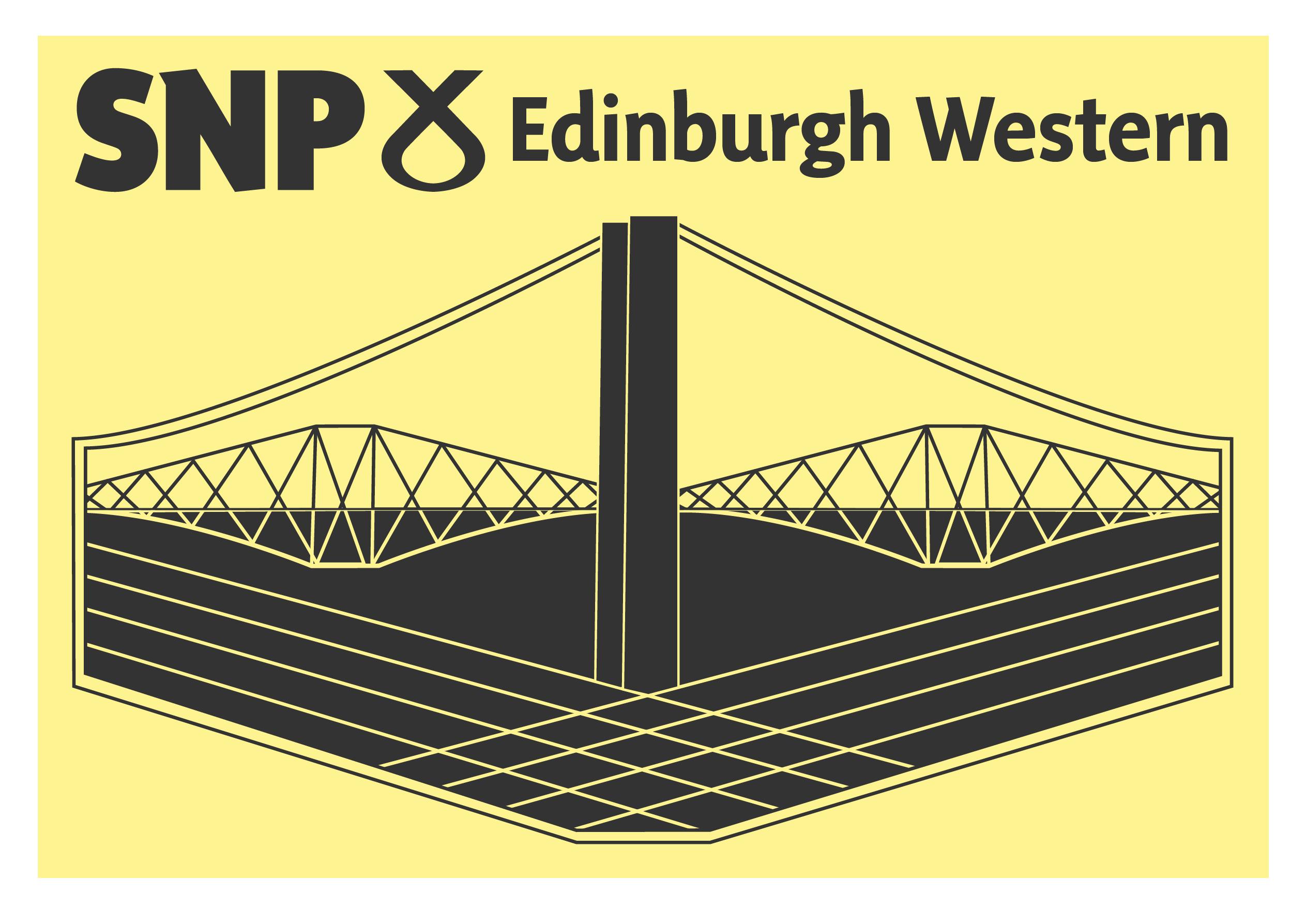 Edinburgh Western Logo featuring the SNP clootie and three bridges of Queensferry